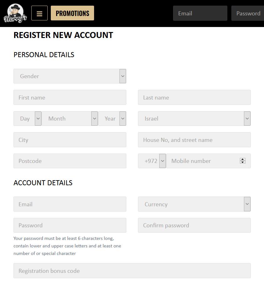 Harry's Casino registratiepagina